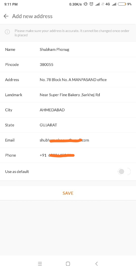 Redmi 5A Address details for Pre order sale