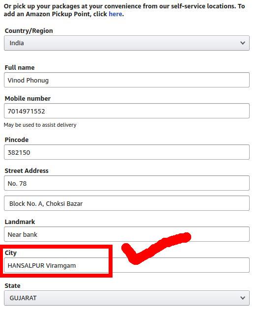 Address sample for Realme U1 Amazon